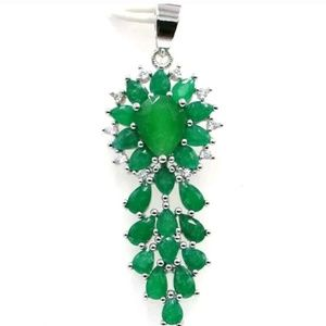 Jewelry - Natural emeralds silver filled pendant